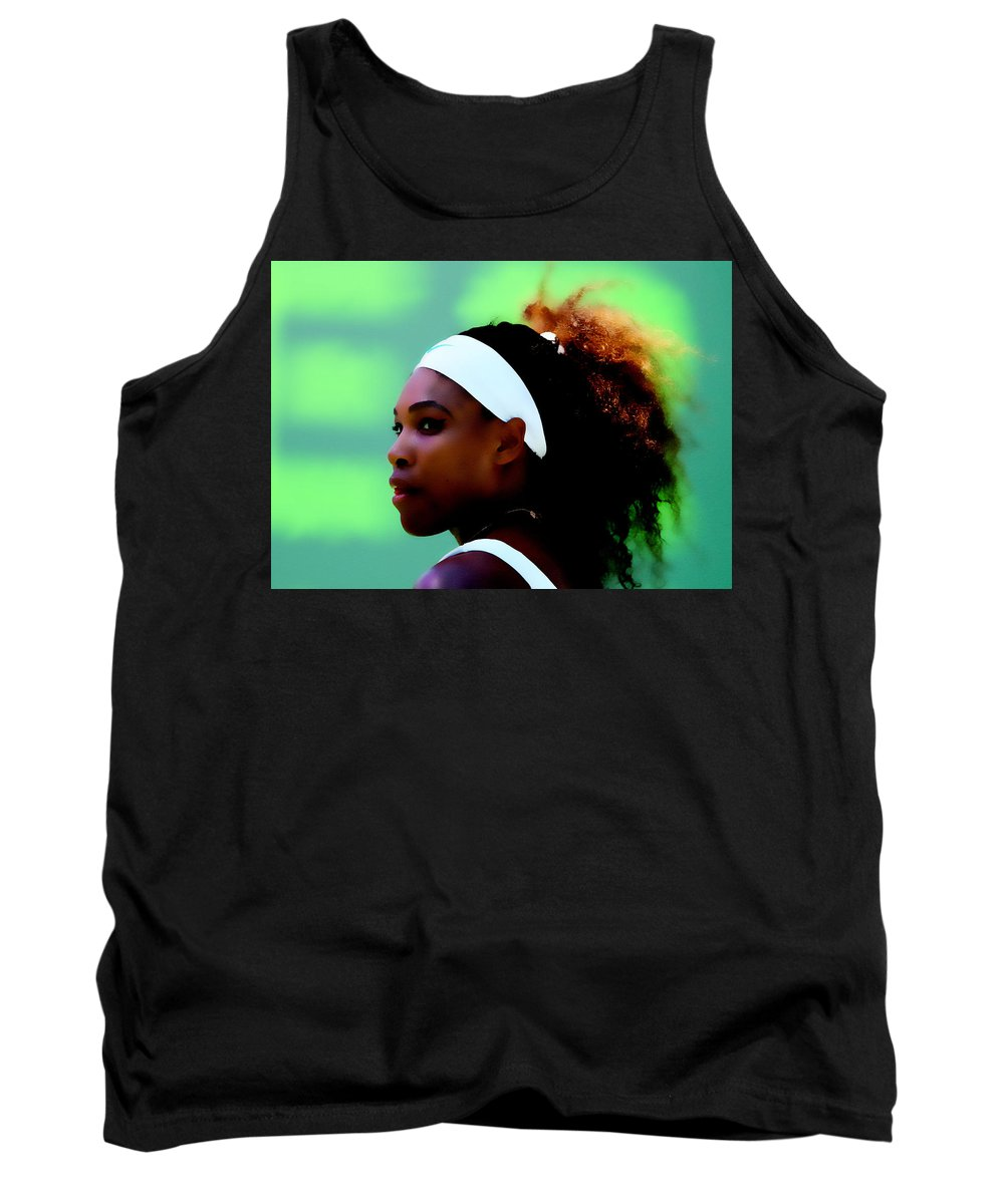 Serena Williams Tank Top featuring the digital art Serena Williams Match Point by Brian Reaves