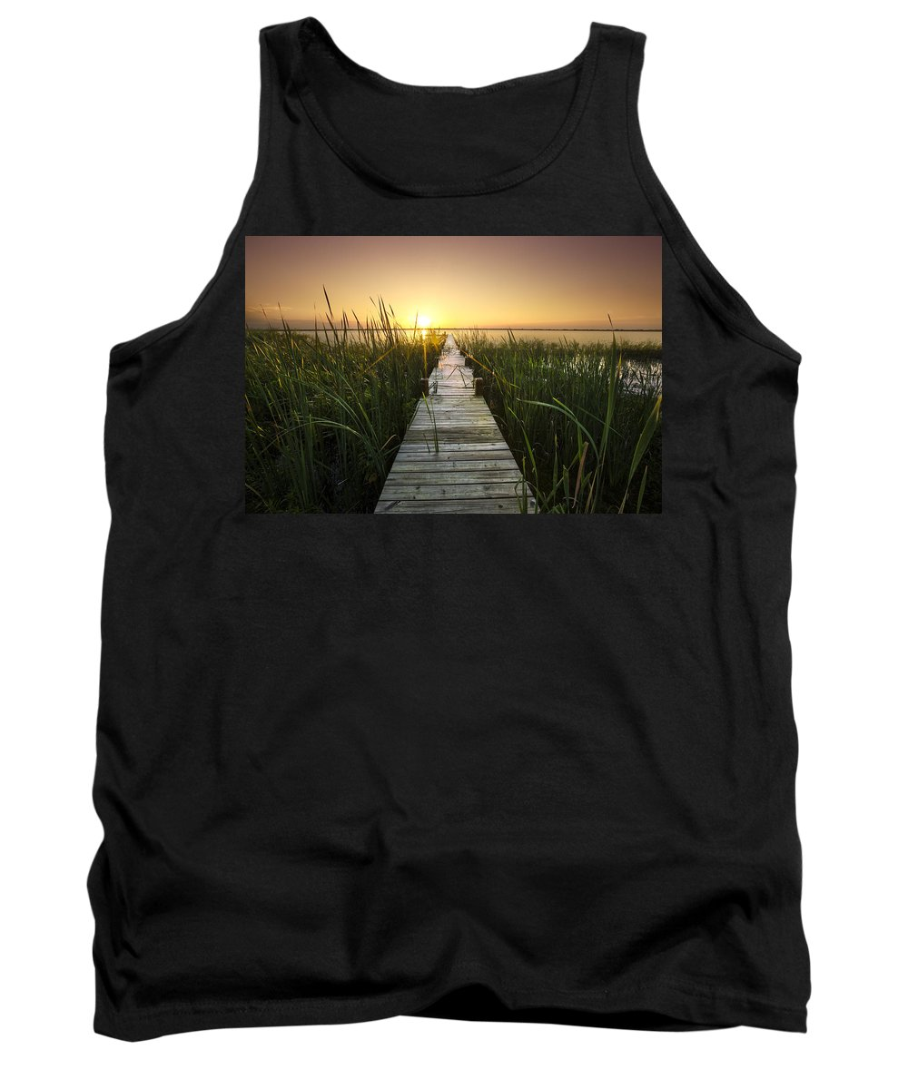 Clouds Tank Top featuring the photograph Serenity At The Lake by Debra and Dave Vanderlaan