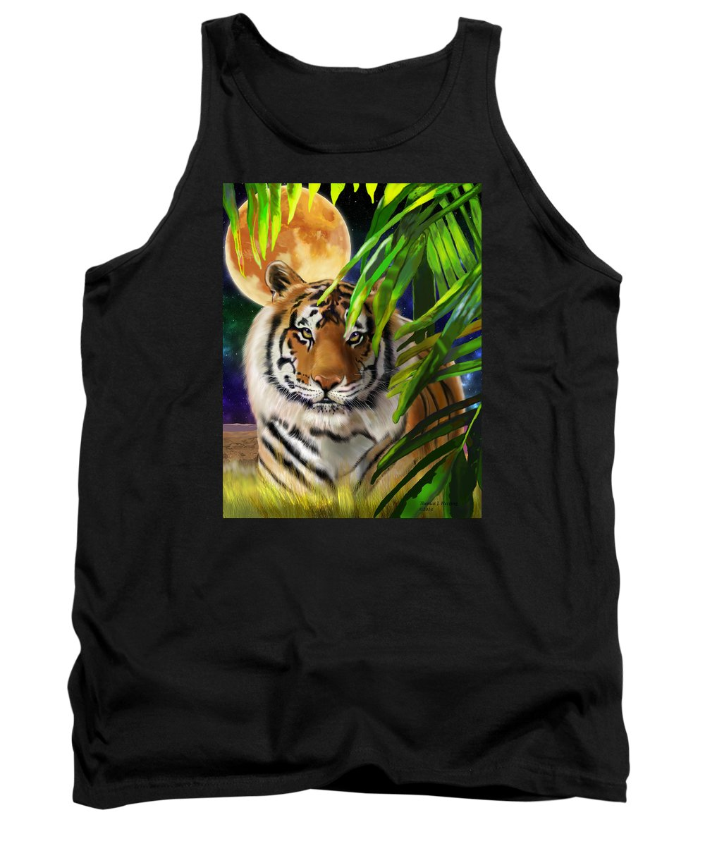 Siberian Tank Top featuring the painting Second In The Big Cat Series - Tiger by Thomas J Herring