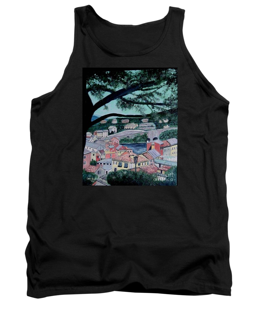 Italy Tank Top featuring the painting Sestri Levante by Laurie Morgan
