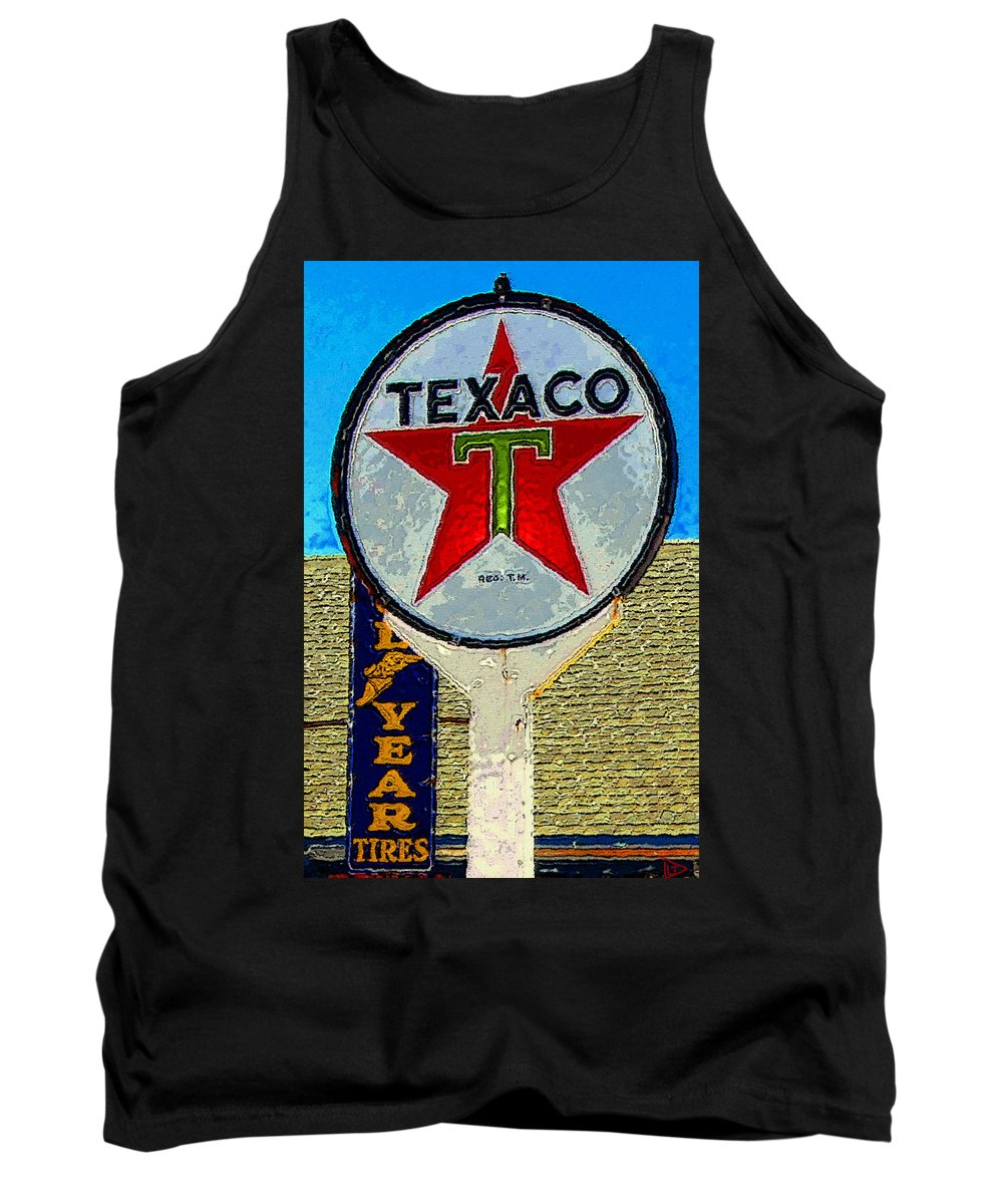 Texaco Tank Top featuring the painting The Big Red Star by David Lee Thompson