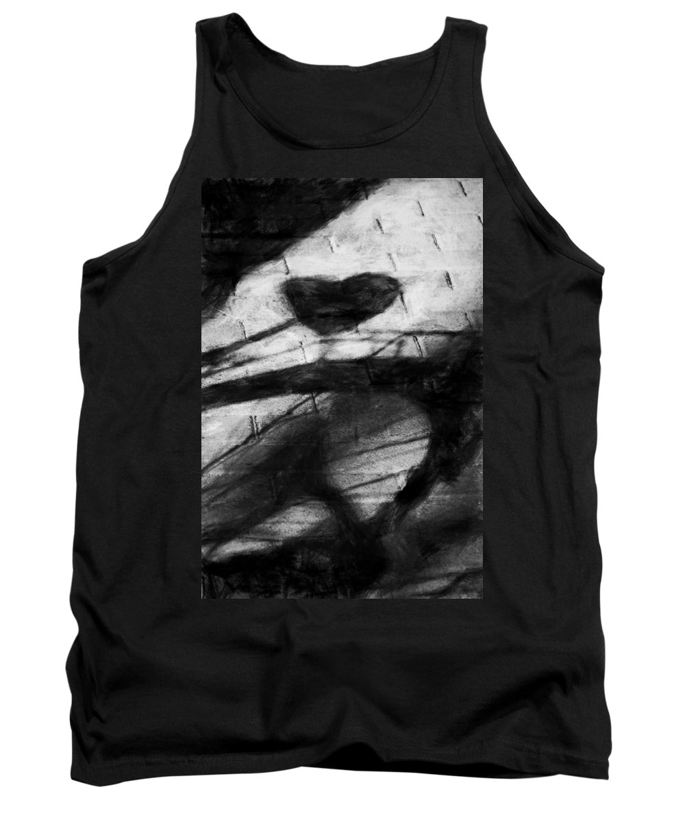 Bicycle Tank Top featuring the digital art Shadow Heart Rough Charcoal by David Lange