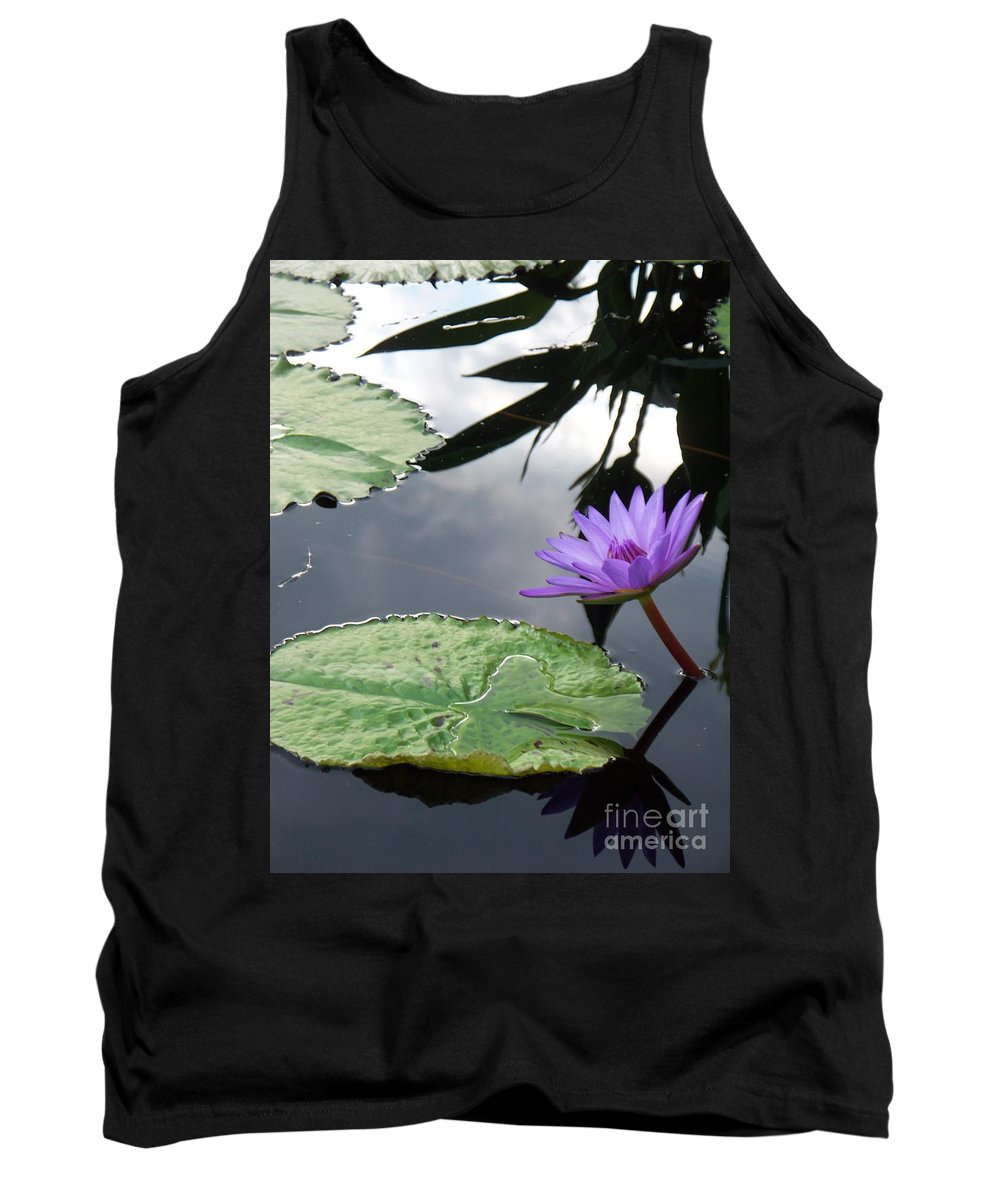 Water Lilies Tank Top featuring the photograph Shadows On A Lily Pond by Eric Schiabor