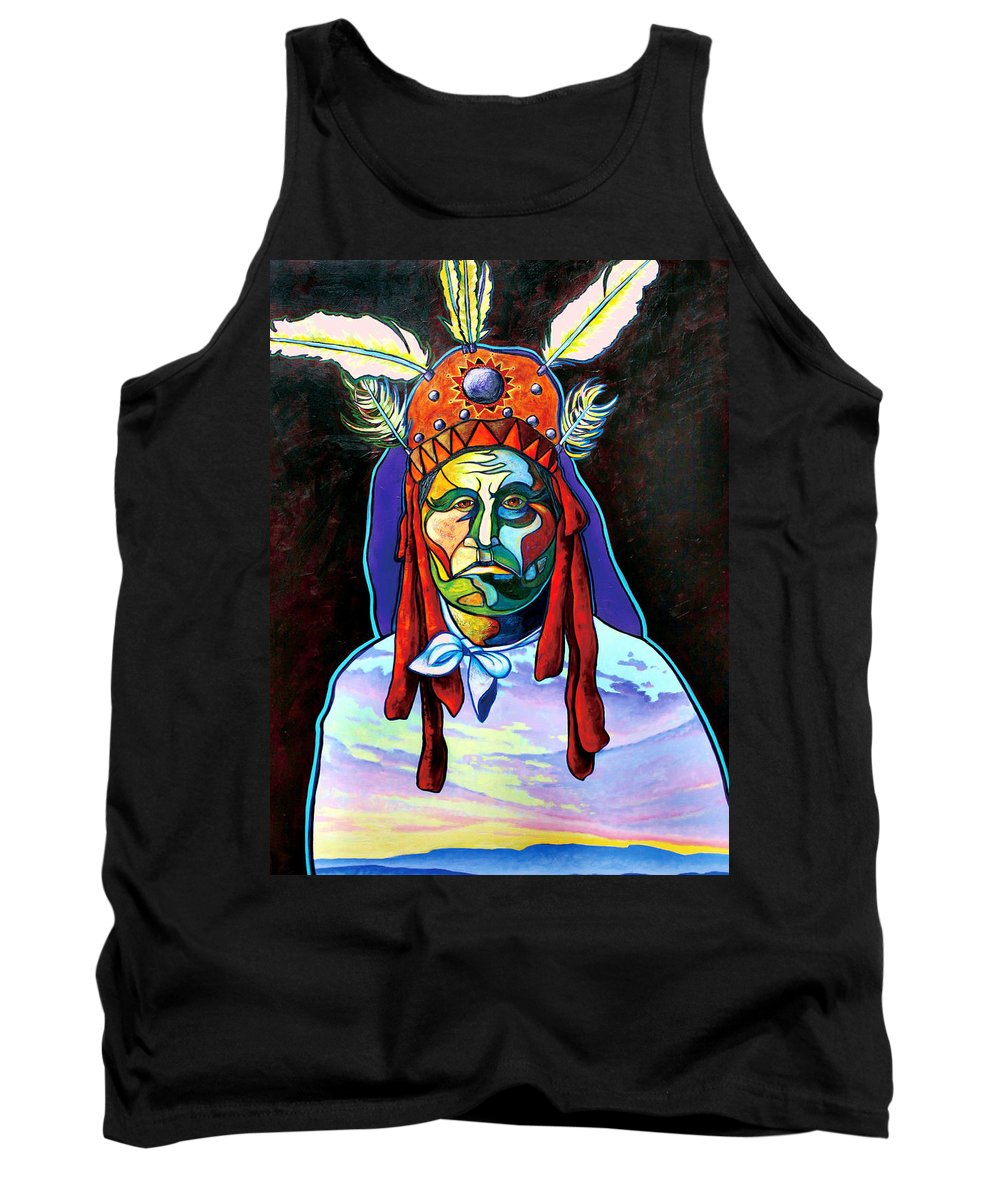 American Indian Tank Top featuring the painting Shamans Power by Joe Triano