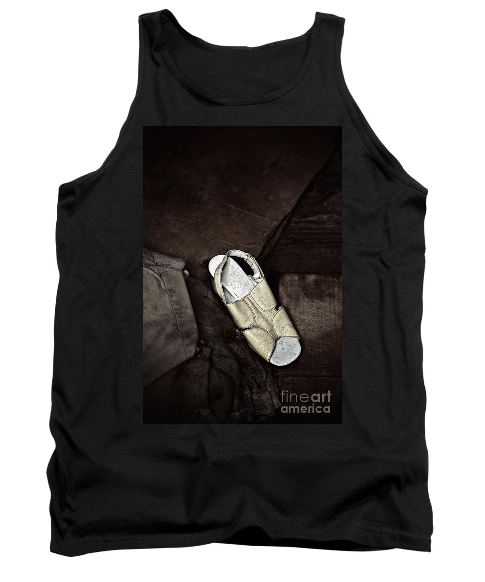 Shoe Tank Top featuring the photograph She Went Missing by Trish Mistric