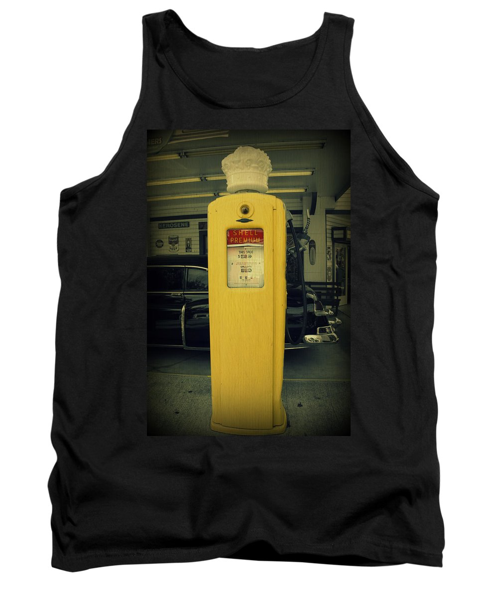 Gas Pump Tank Top featuring the photograph Shell Premium by Laurie Perry