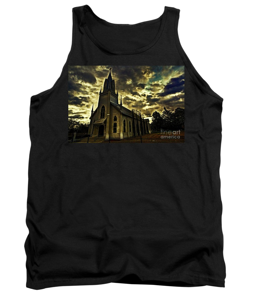 St. Joseph Catholic Church Tank Top featuring the photograph Shelter From The Storm by Gary Holmes