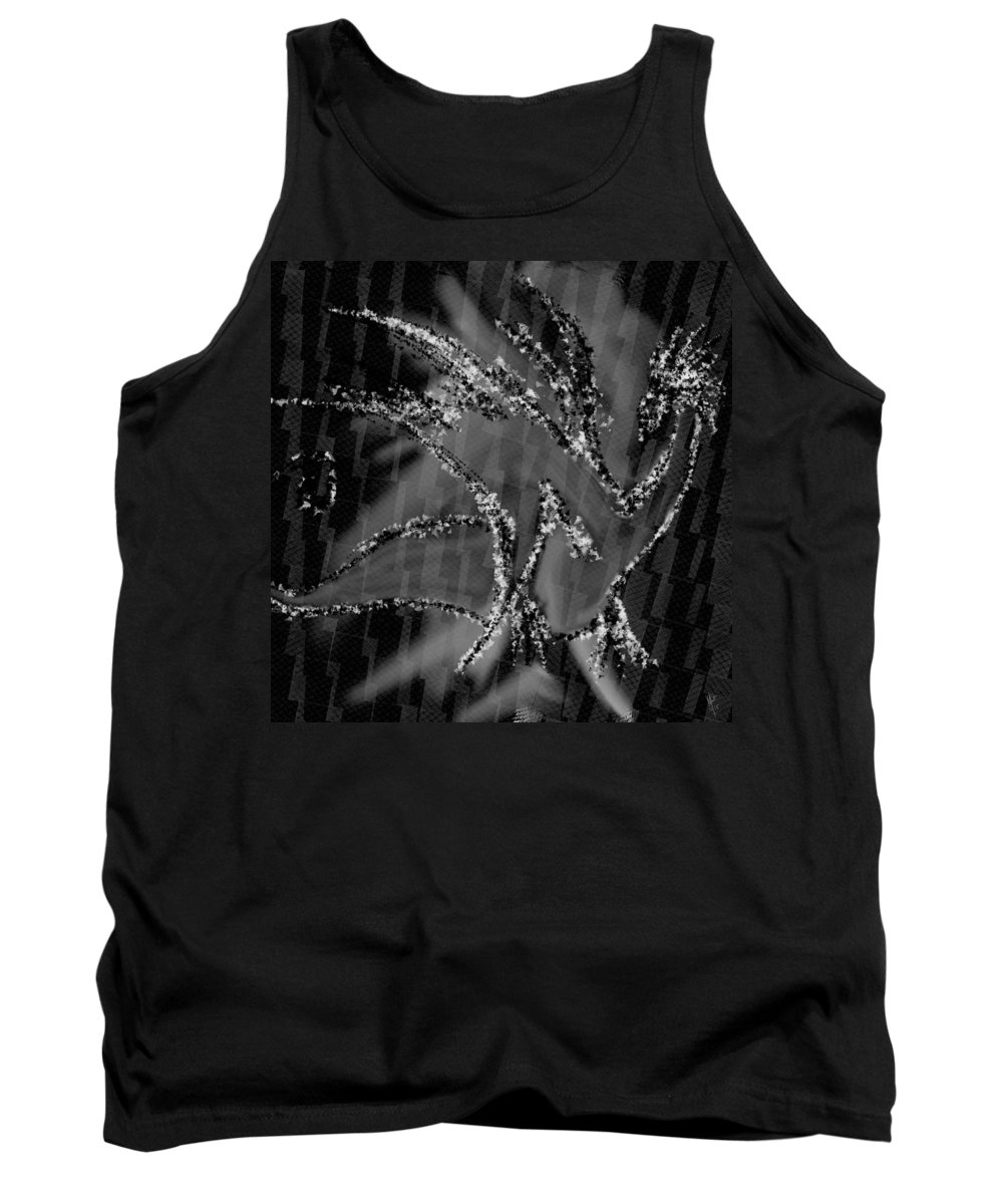 Silver Tank Top featuring the digital art Silver Dragon by Mathieu Lalonde