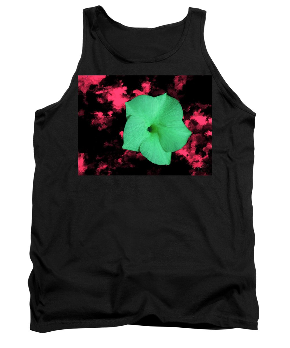 Green Tank Top featuring the painting Single Green Cactus Flower by Bruce Nutting