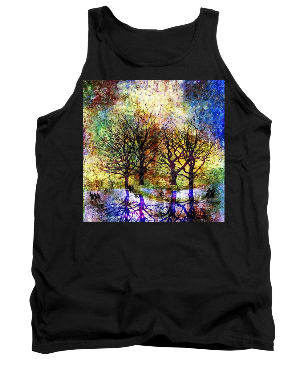 Park Tank Top featuring the painting Skating In The Park by Ericamaxine Price