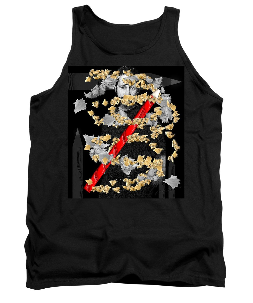 Sketch Tank Top featuring the digital art Sketchy by Michael Hurwitz