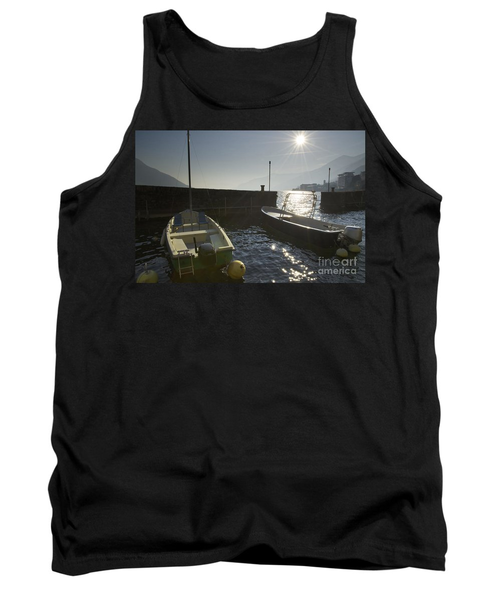 Port Tank Top featuring the photograph Small Port In Backlight by Mats Silvan