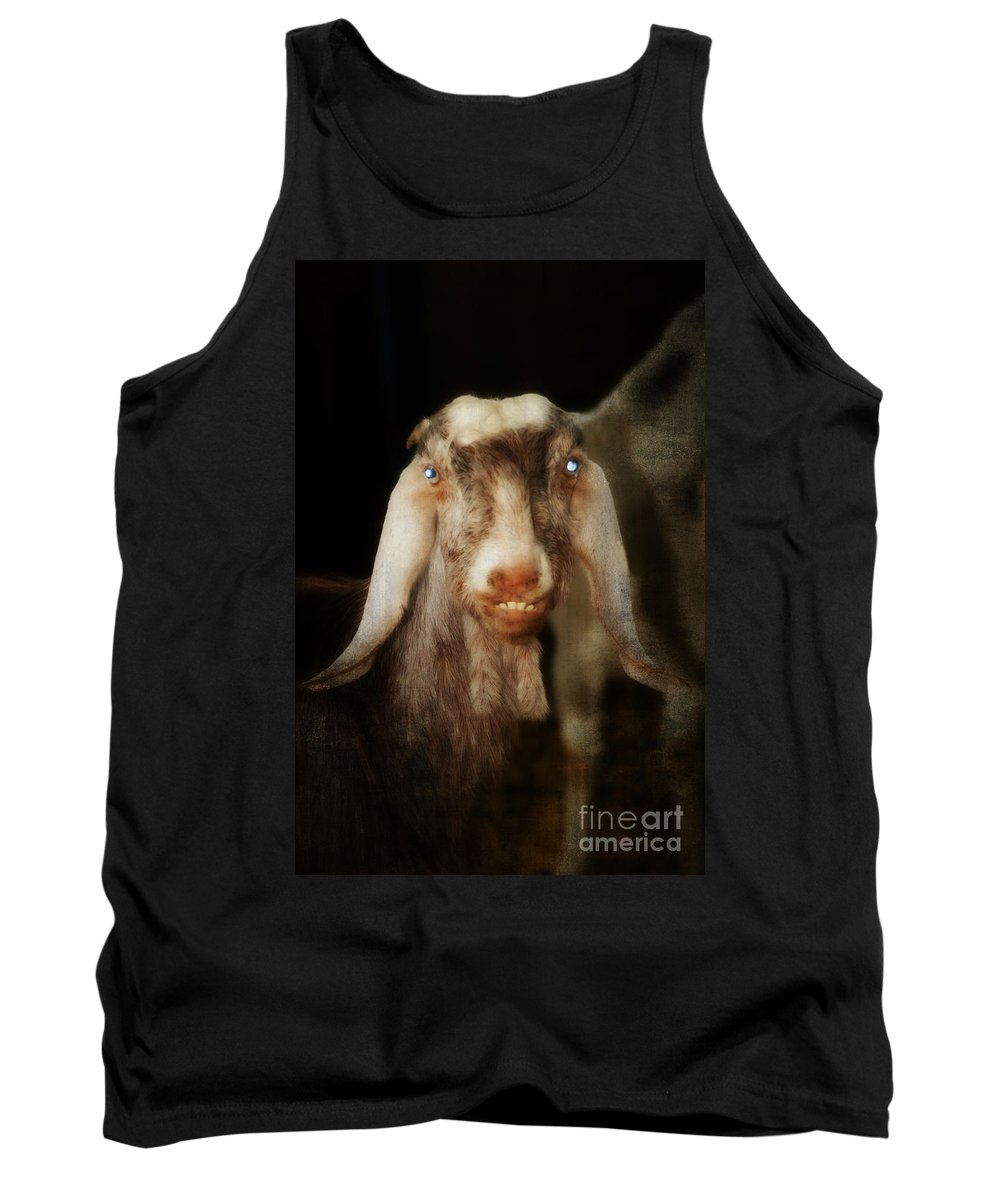 Sheep Tank Top featuring the painting Smiling Egyptian Goat I by Doc Braham