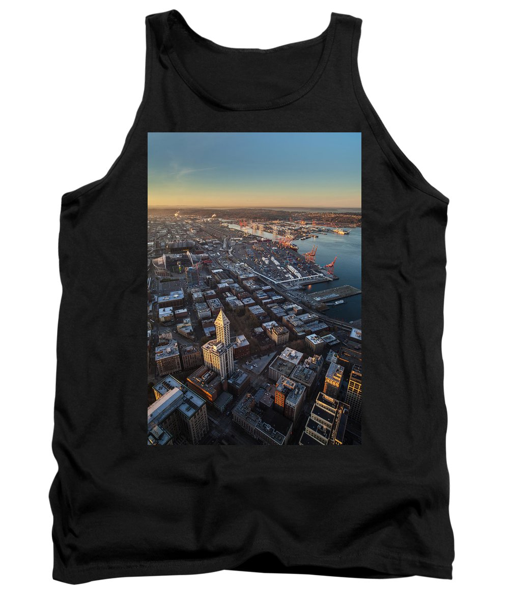 Smith Tower Tank Top featuring the photograph Smith Tower And West Seattle by Mike Reid