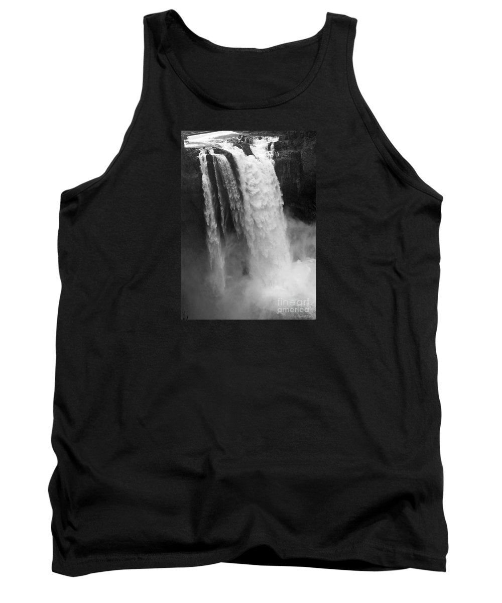 Snoqualmie Falls Tank Top featuring the photograph Snoqualmie Falls - Black And White by Carol Groenen