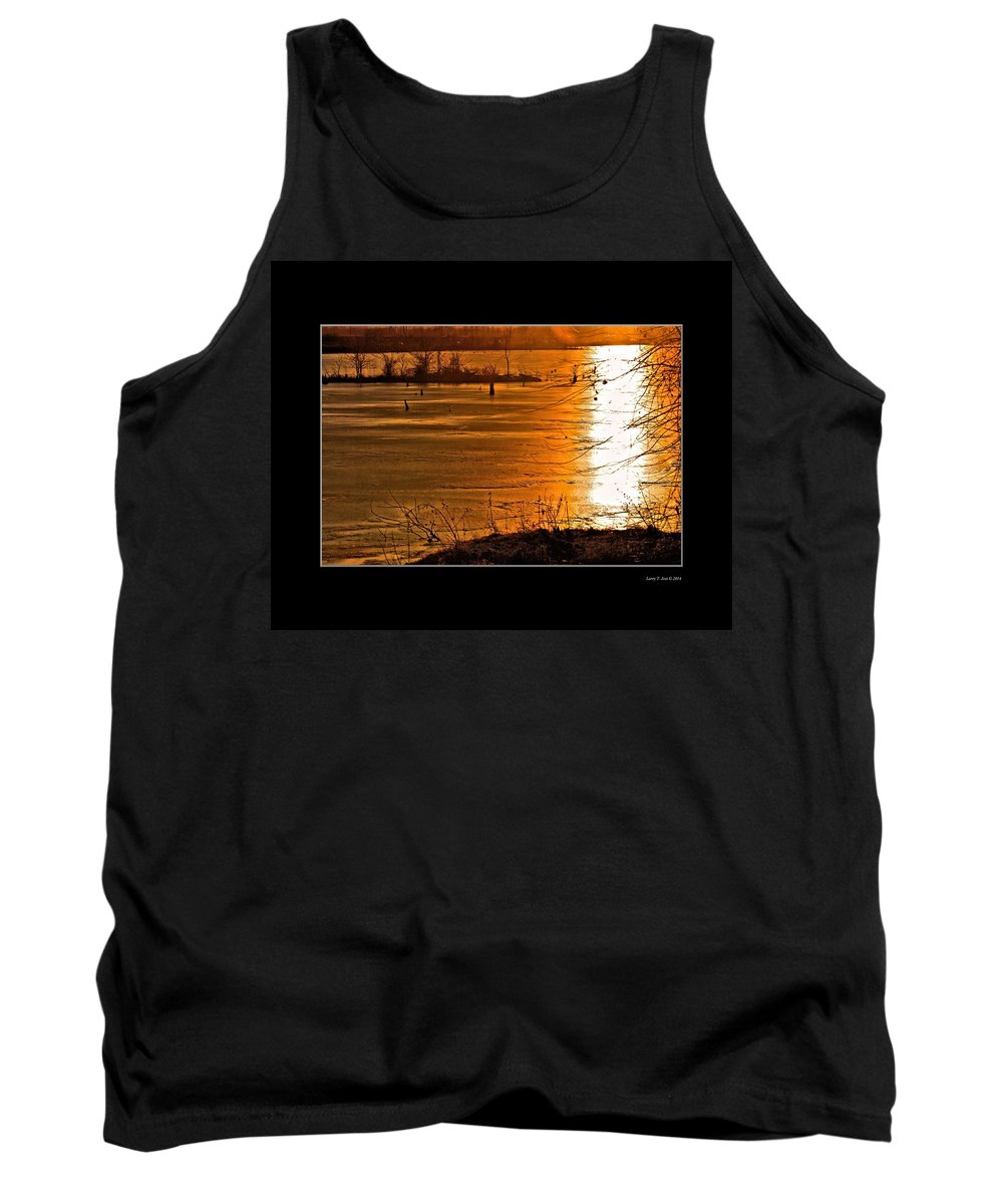 Sunset Tank Top featuring the photograph Snow And Ice Sunset by Larry Jost