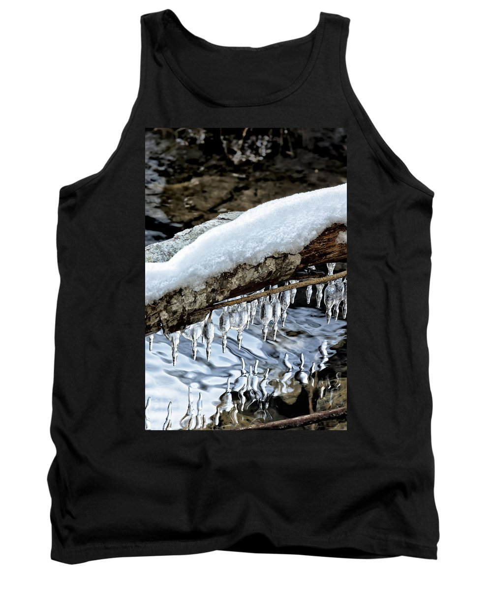 Snow Tank Top featuring the photograph Snow And Icicles No. 1 by Belinda Greb
