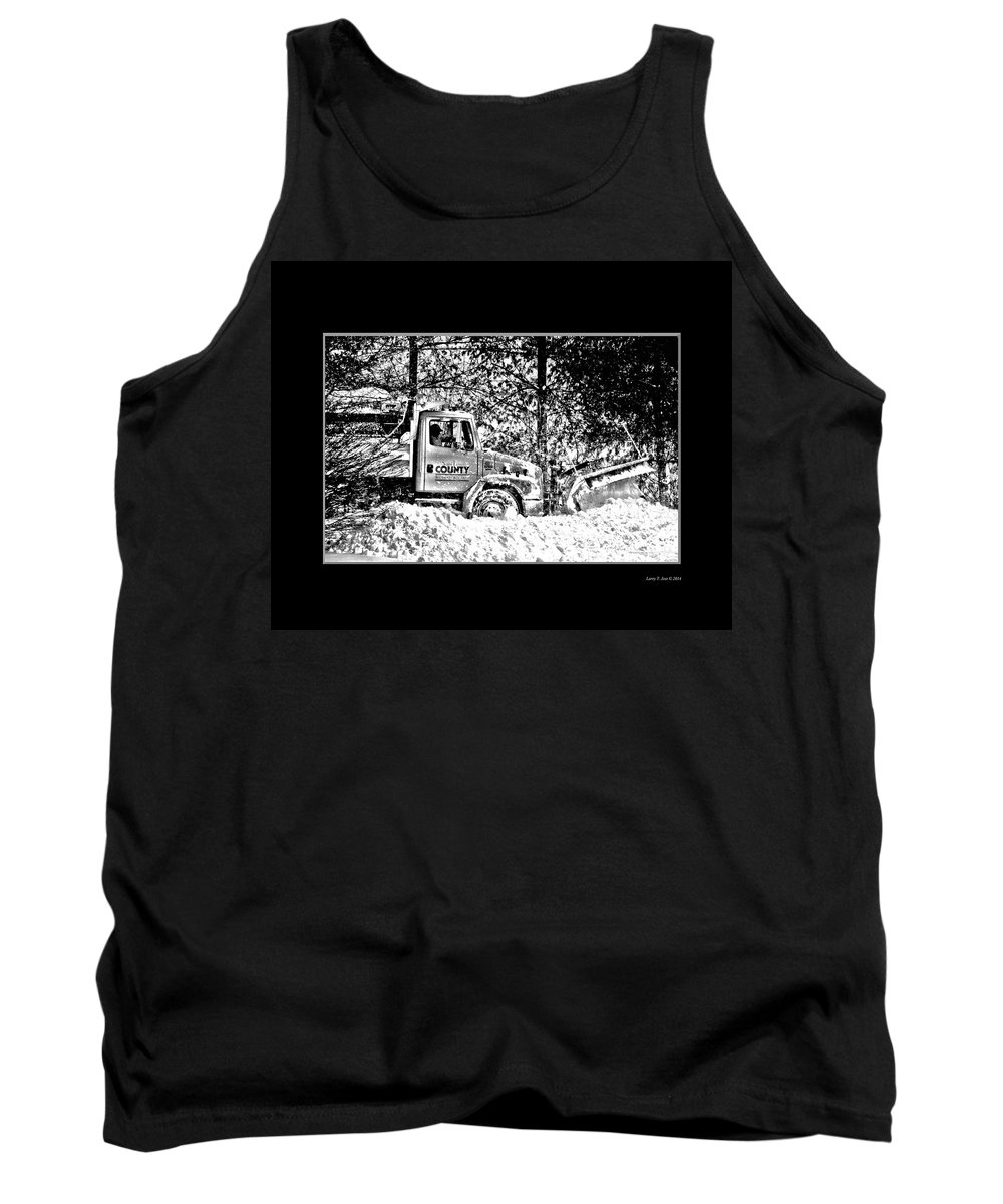 Snow Tank Top featuring the photograph Snow Plow In Black And White by Larry Jost
