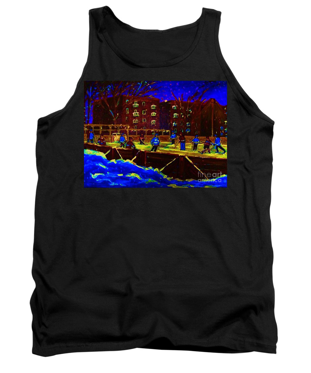 Hockey Tank Top featuring the painting Snowing At The Rink by Carole Spandau