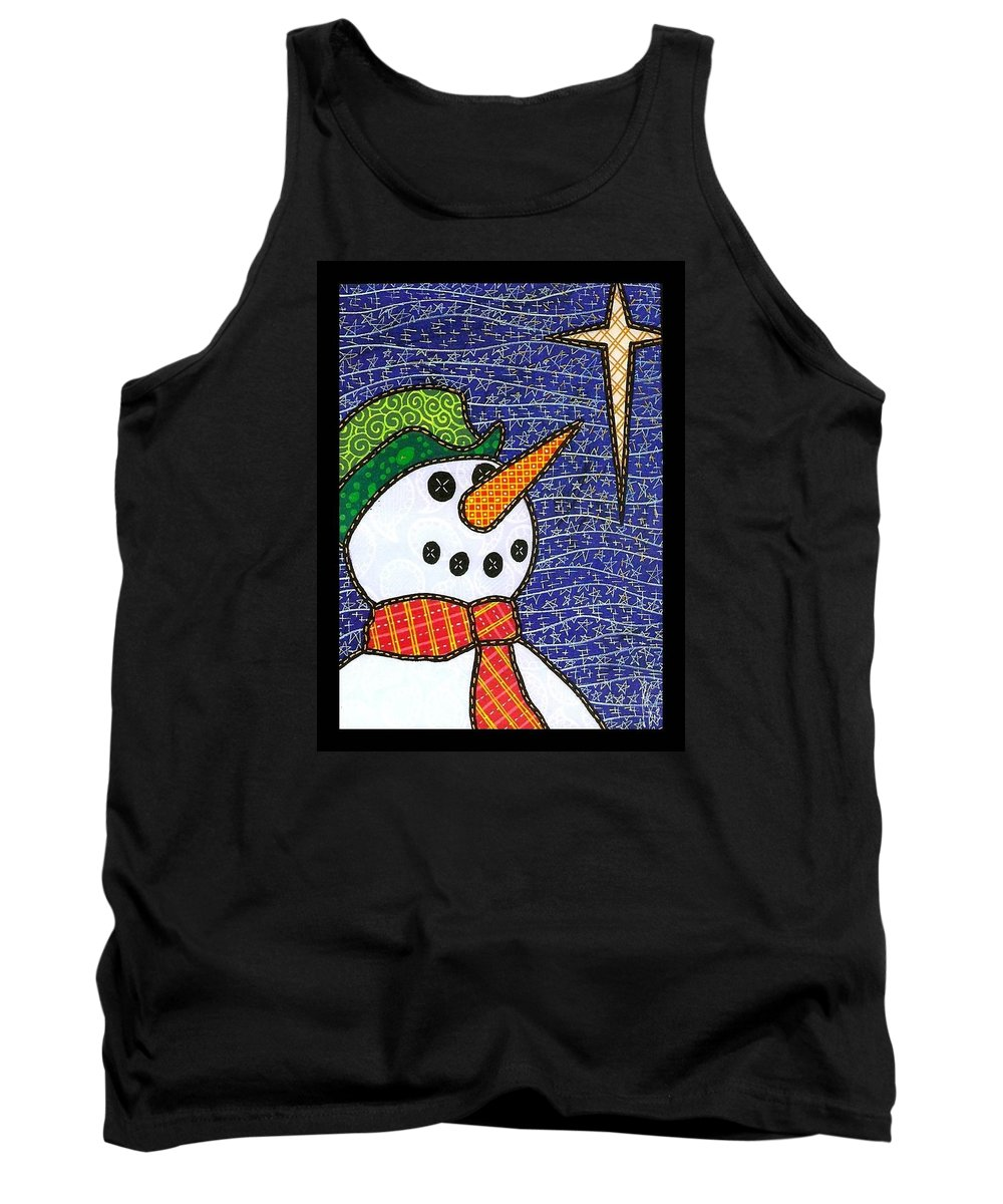 Snow Tank Top featuring the painting Snowman And Star by Jim Harris