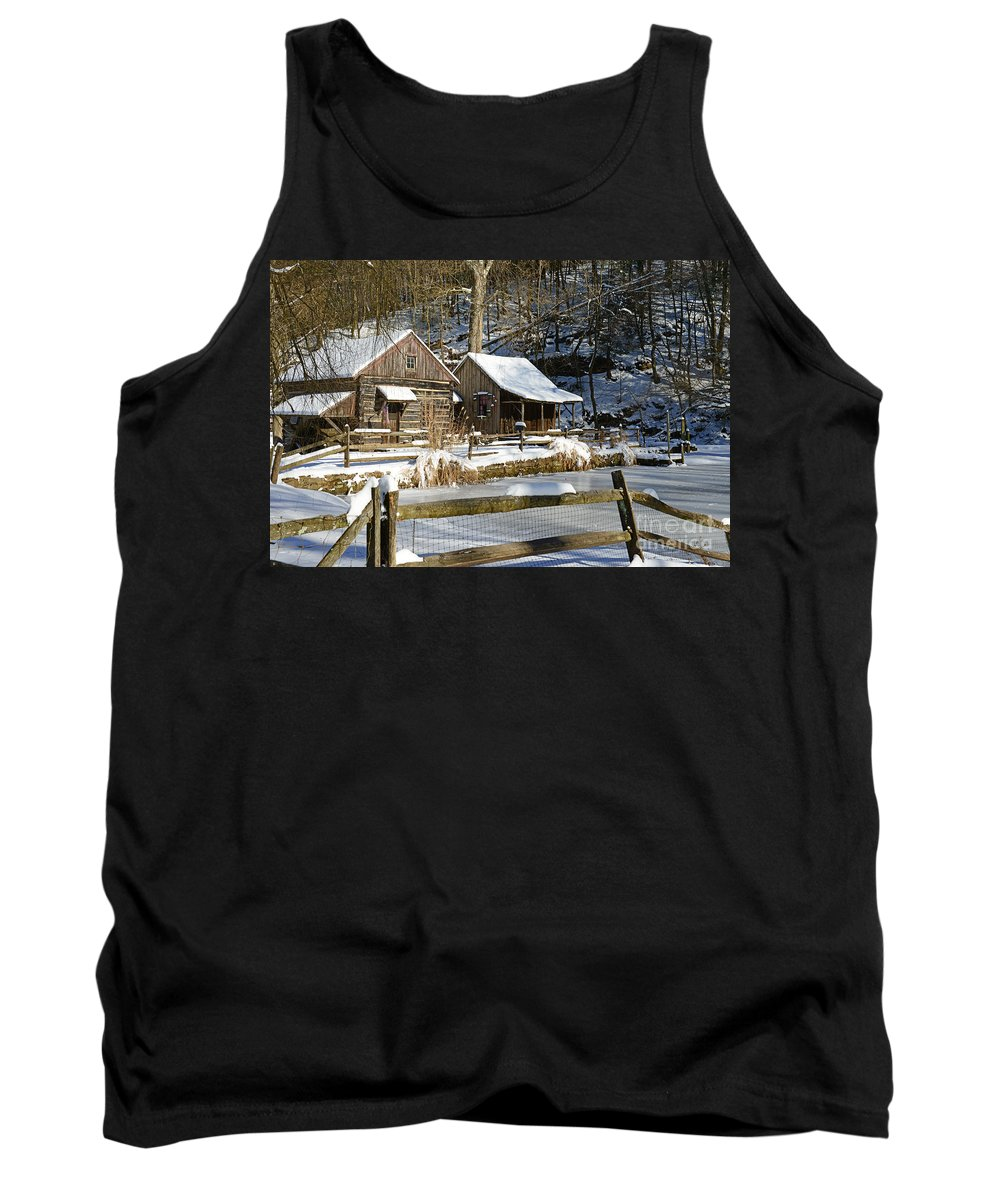 Paul Ward Tank Top featuring the photograph Snowy Cabins by Paul Ward