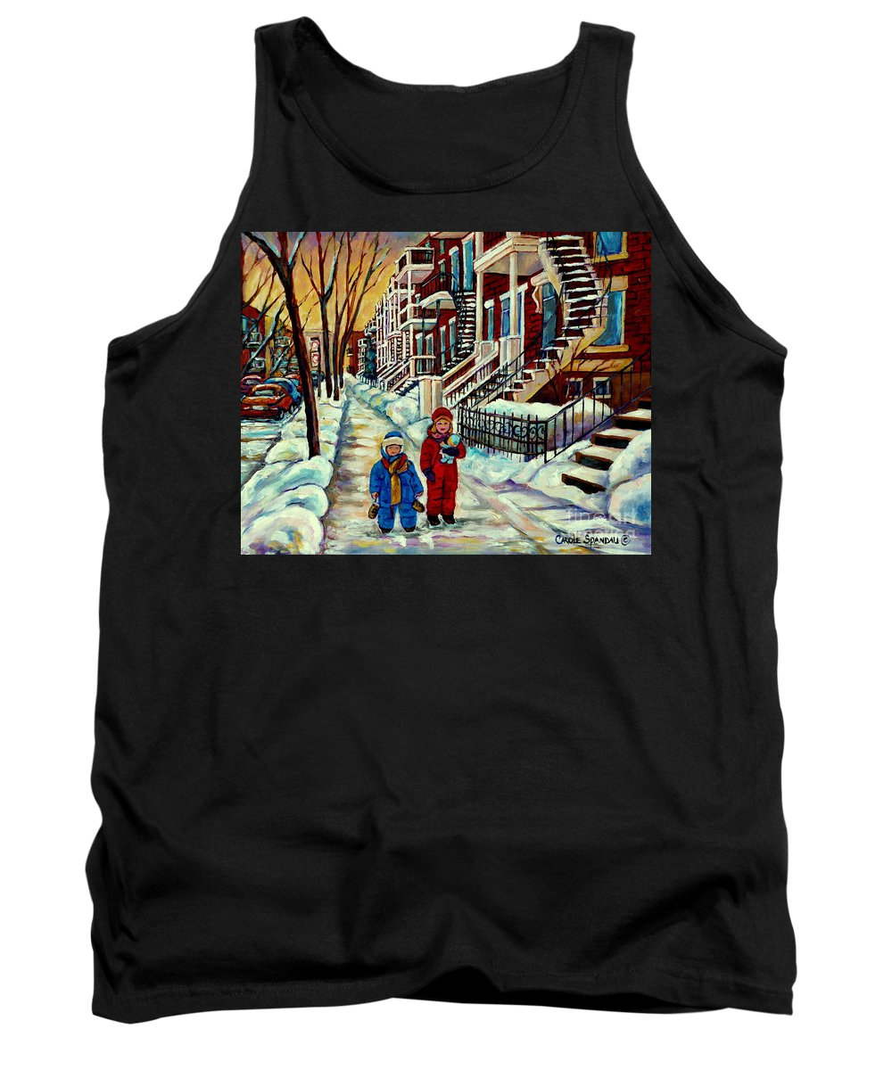 Montreal Tank Top featuring the painting Snowy Day Rue Fabre Le Plateau Montreal Art Winter City Scenes Paintings Carole Spandau by Carole Spandau