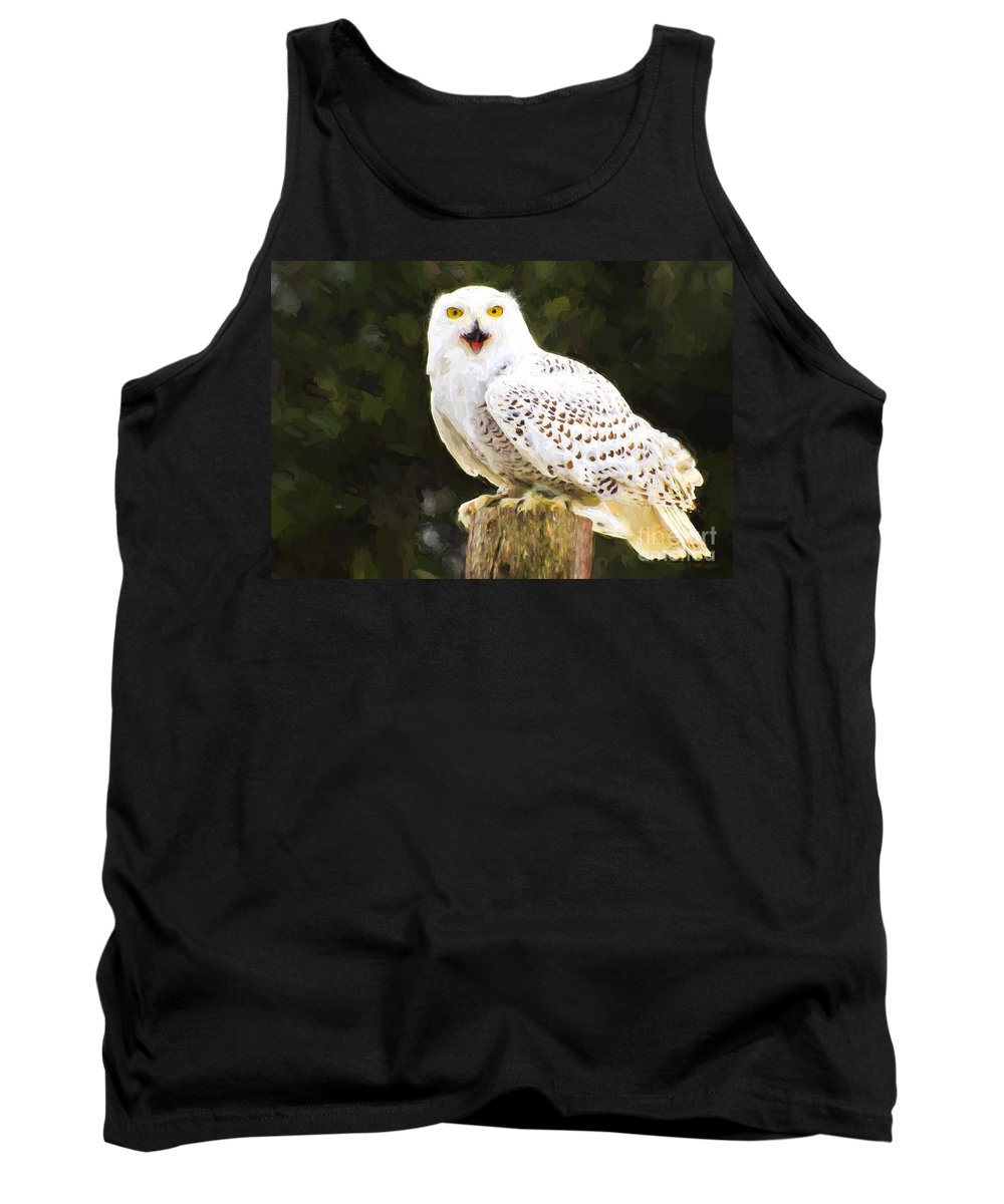 Snowy Tank Top featuring the photograph Snowy Owl by Les Palenik