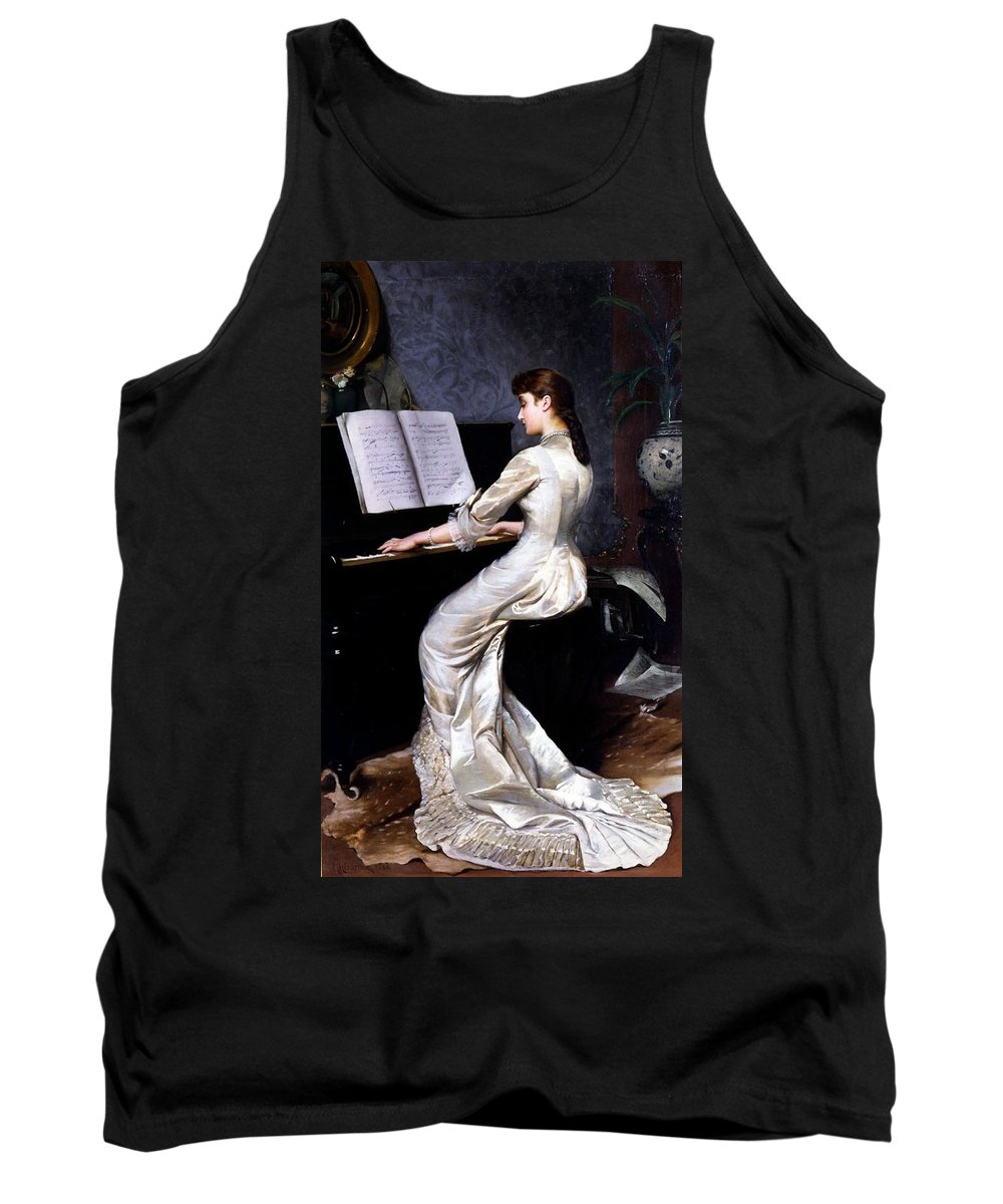 Song Tank Top featuring the painting Song Without Words, Piano Player, 1880 by George Hamilton Barrable