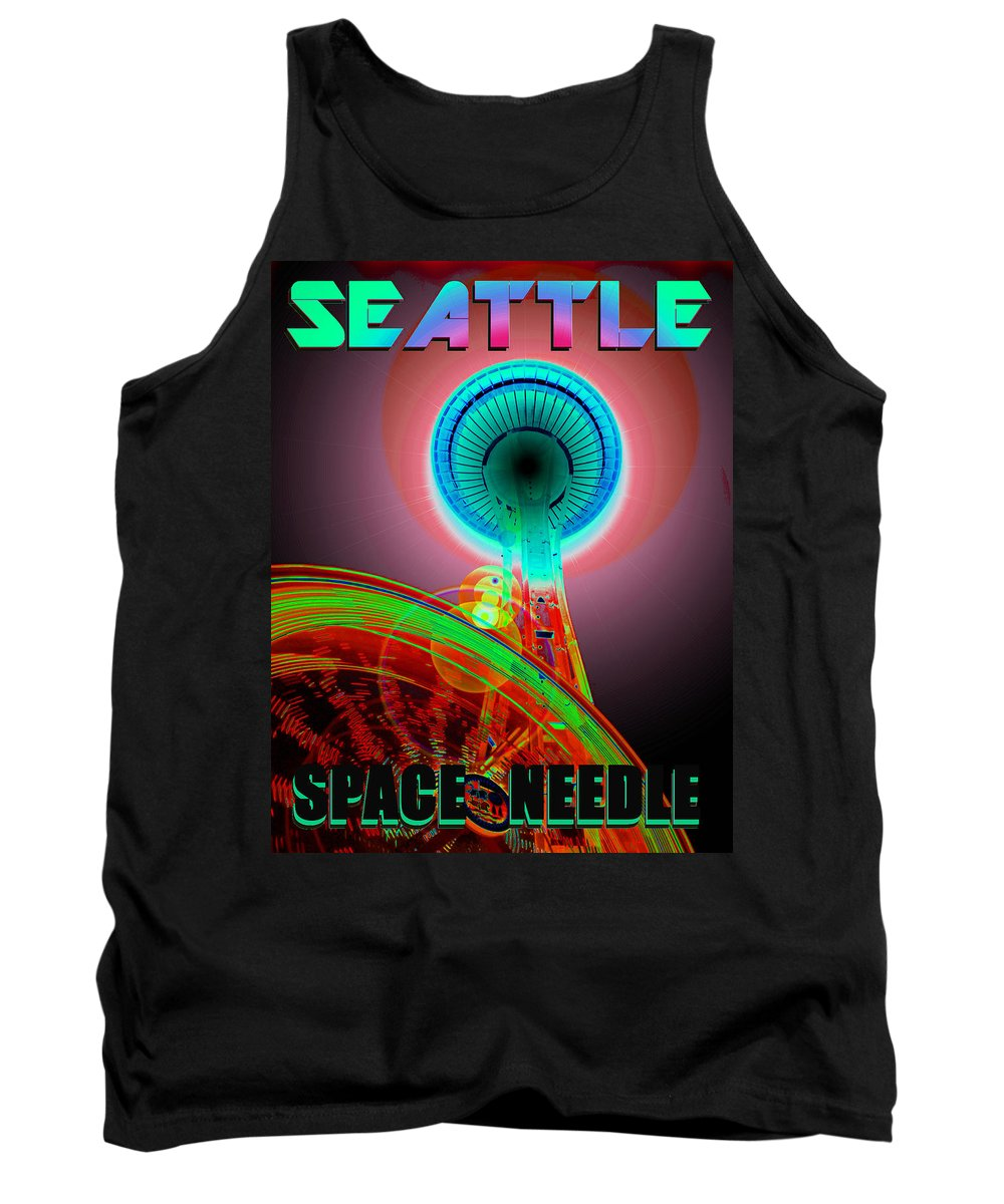 Seattle Tank Top featuring the photograph Space Needle Poster Work A by David Lee Thompson
