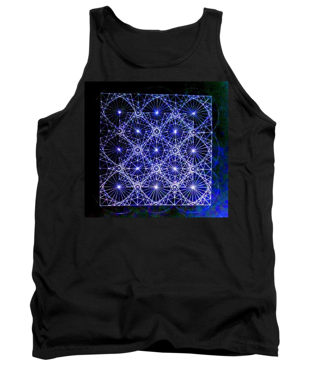Space Tank Top featuring the drawing Space Time At Planck Length Vibrating At Speed Of Light Due To Heisenberg Uncertainty Principle by Jason Padgett