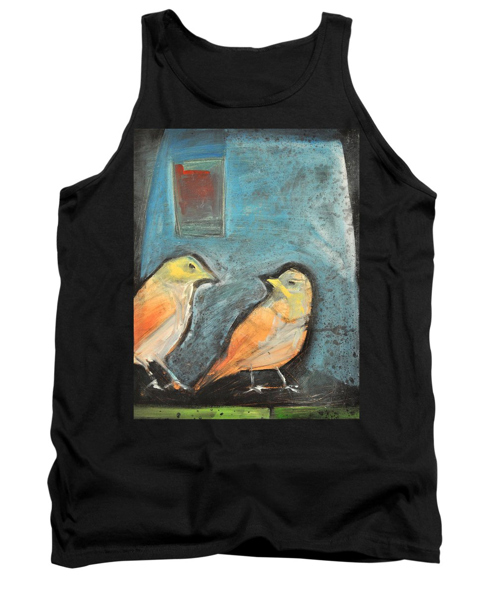 Birds Tank Top featuring the painting Sparrows by Tim Nyberg