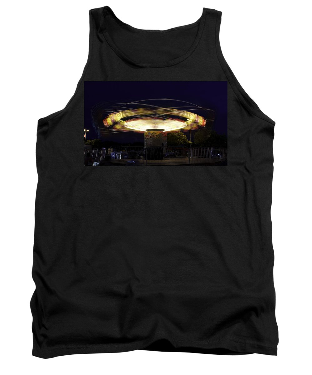 Spin Tank Top featuring the photograph Spinning Orbiter Fair Ride by Jay Droggitis