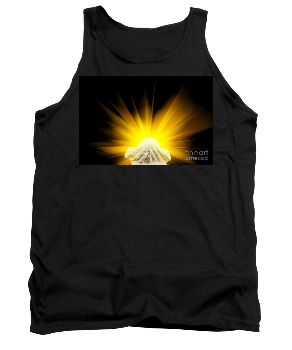 Spiritual Tank Top featuring the photograph Spiritual Light In Cupped Hands by Simon Bratt Photography LRPS