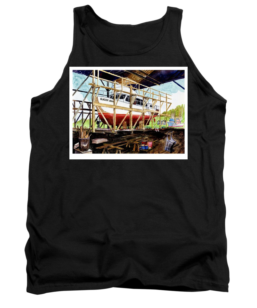 Marinas Tank Top featuring the painting Yacht Glacier Bear Hauled Out In Gig Harbor by Jack Pumphrey