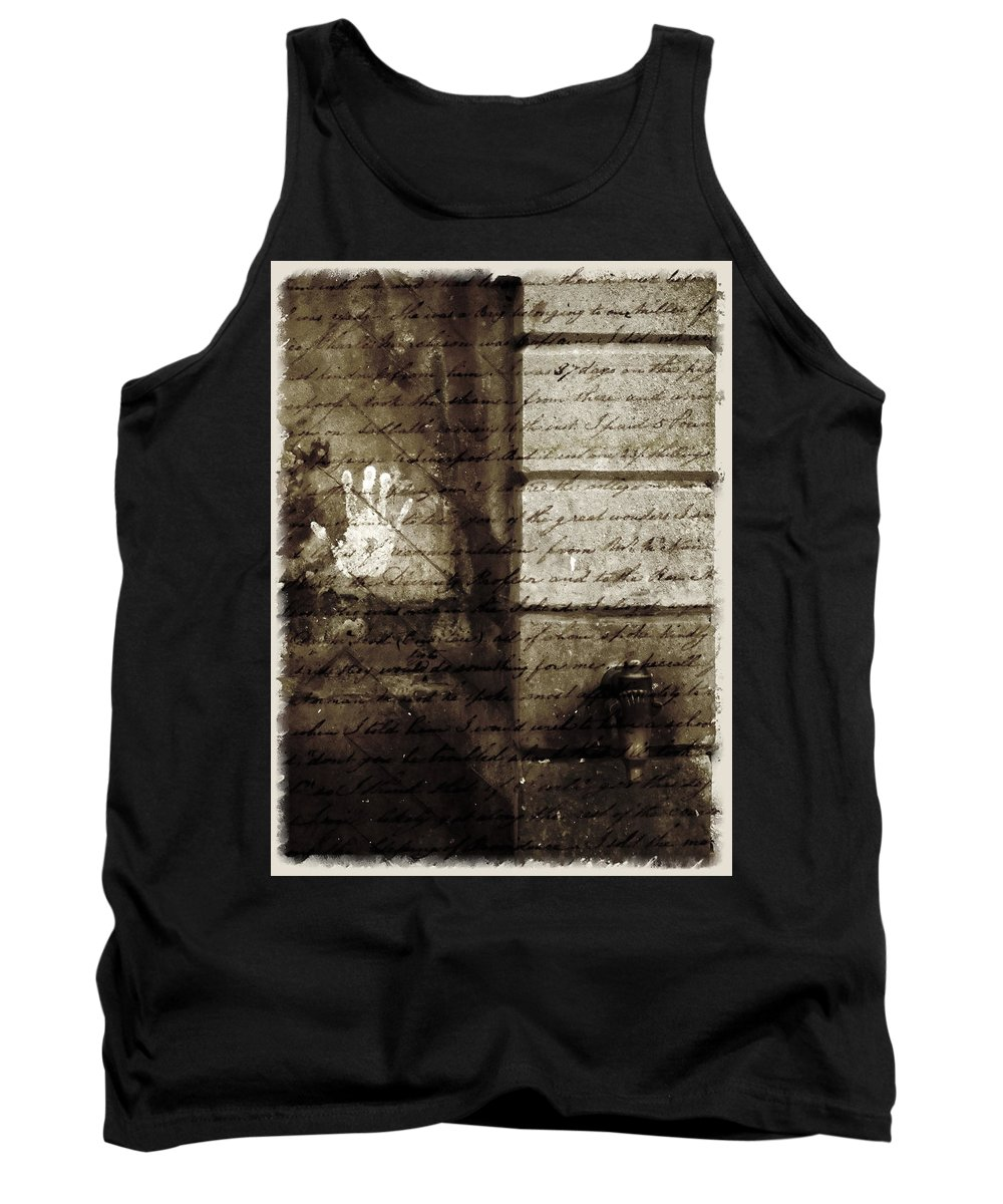 Nobody Tank Top featuring the photograph spring water memories - A letter and hand print composition beside a vintage griffin by Pedro Cardona Llambias