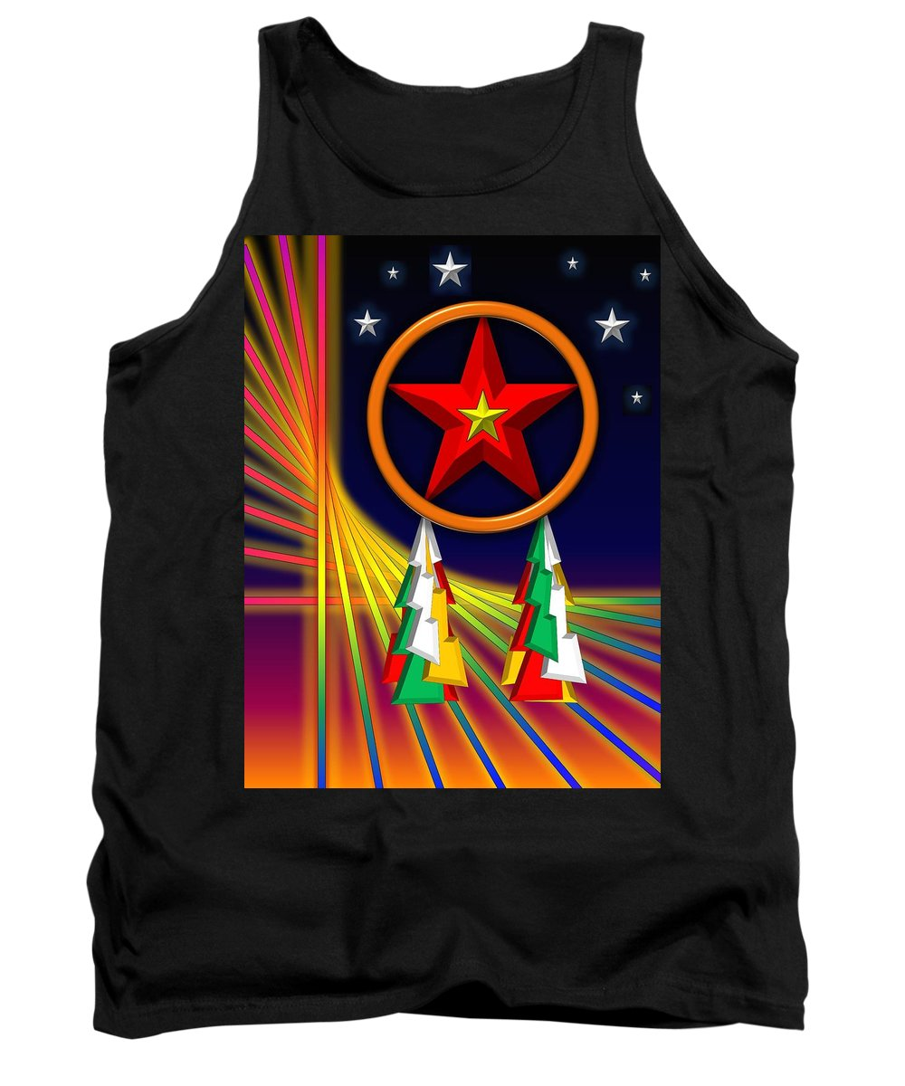 Christmas Cards Tank Top featuring the digital art Star by Cyril Maza