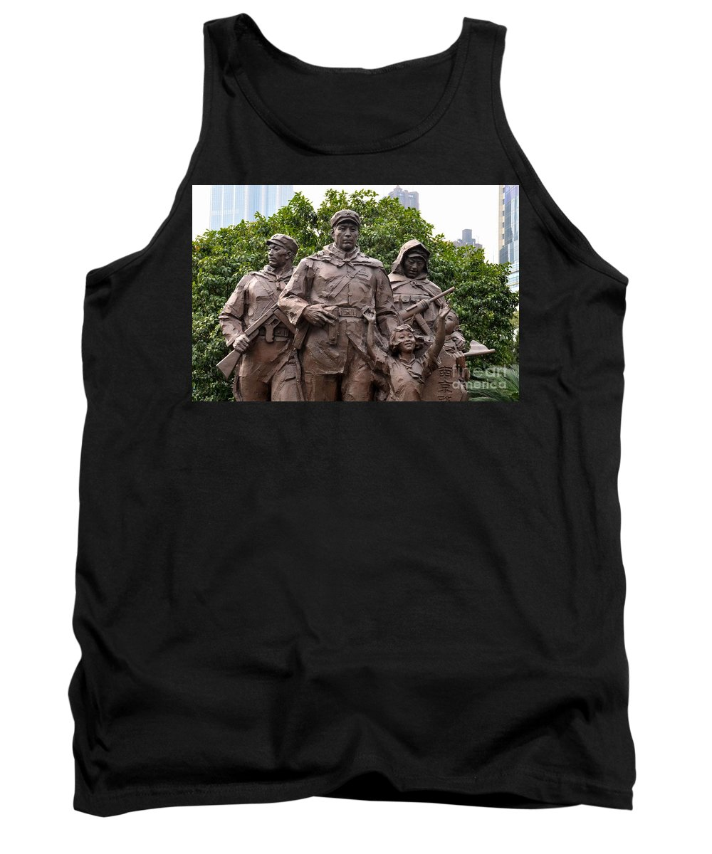 Statue Tank Top featuring the photograph Statue Depicting Glory Of Chinese Communist Party Shanghai China by Imran Ahmed