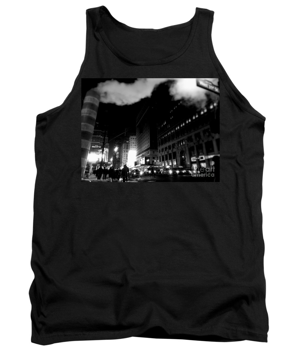 Street Photography Tank Top featuring the photograph Steam Heat - New York At Night by Miriam Danar