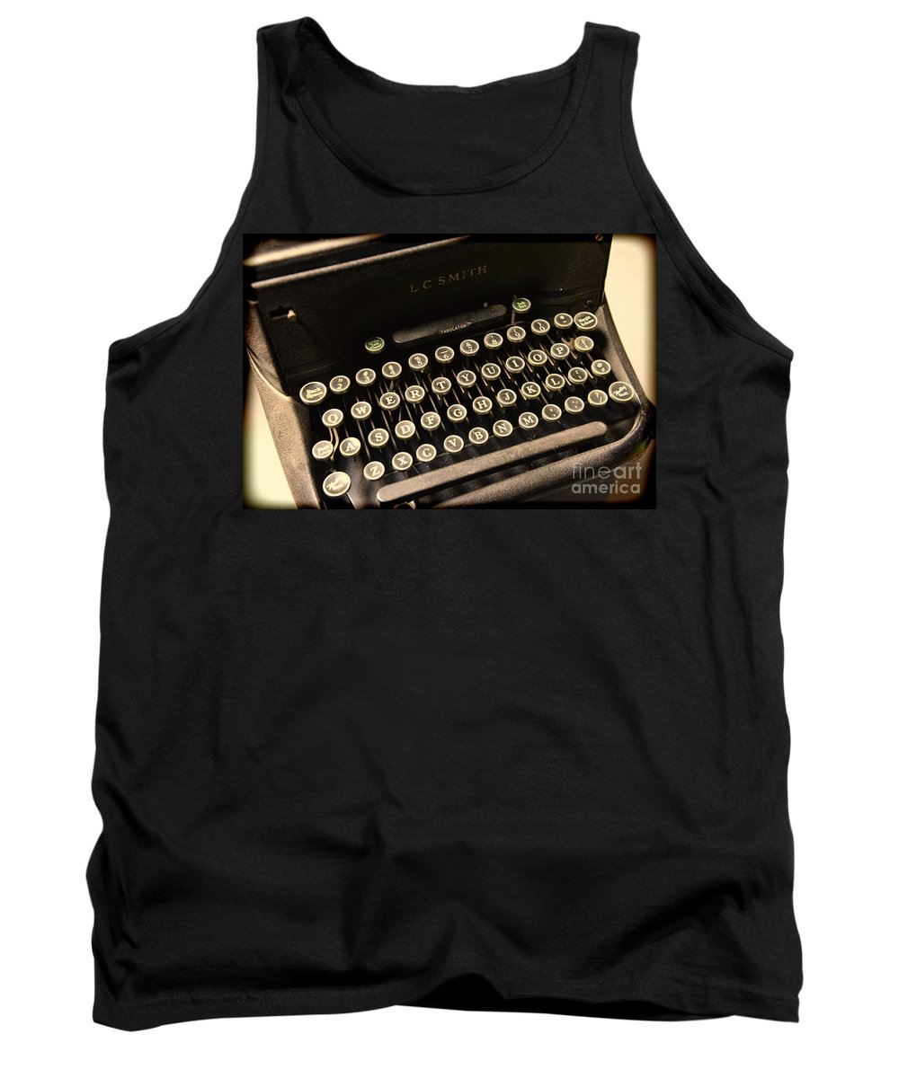 Steampunk Tank Top featuring the photograph Steampunk - Typewriter - The Age Of Industry by Paul Ward