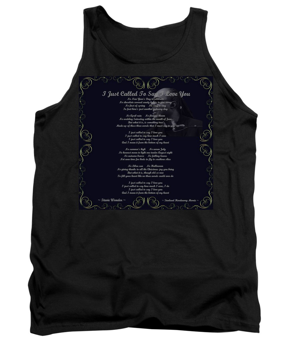 Stevie Wonder Tank Top featuring the digital art Stevie Wonder Gold Scrolled Called To Say I Love You by Movie Poster Prints