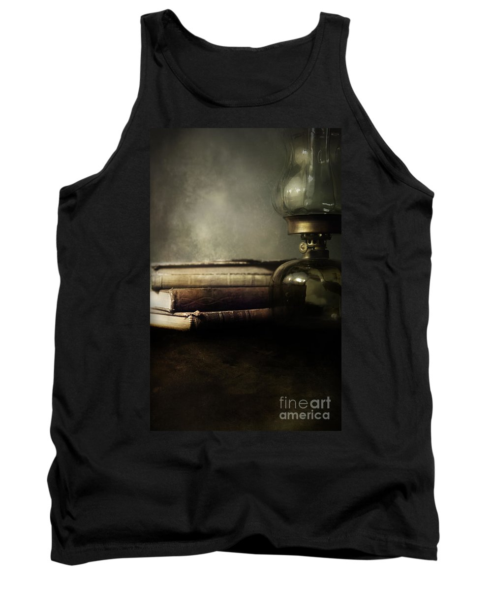 Oil Lamp Tank Top featuring the photograph Still Life With Books And The Lamp by Jaroslaw Blaminsky