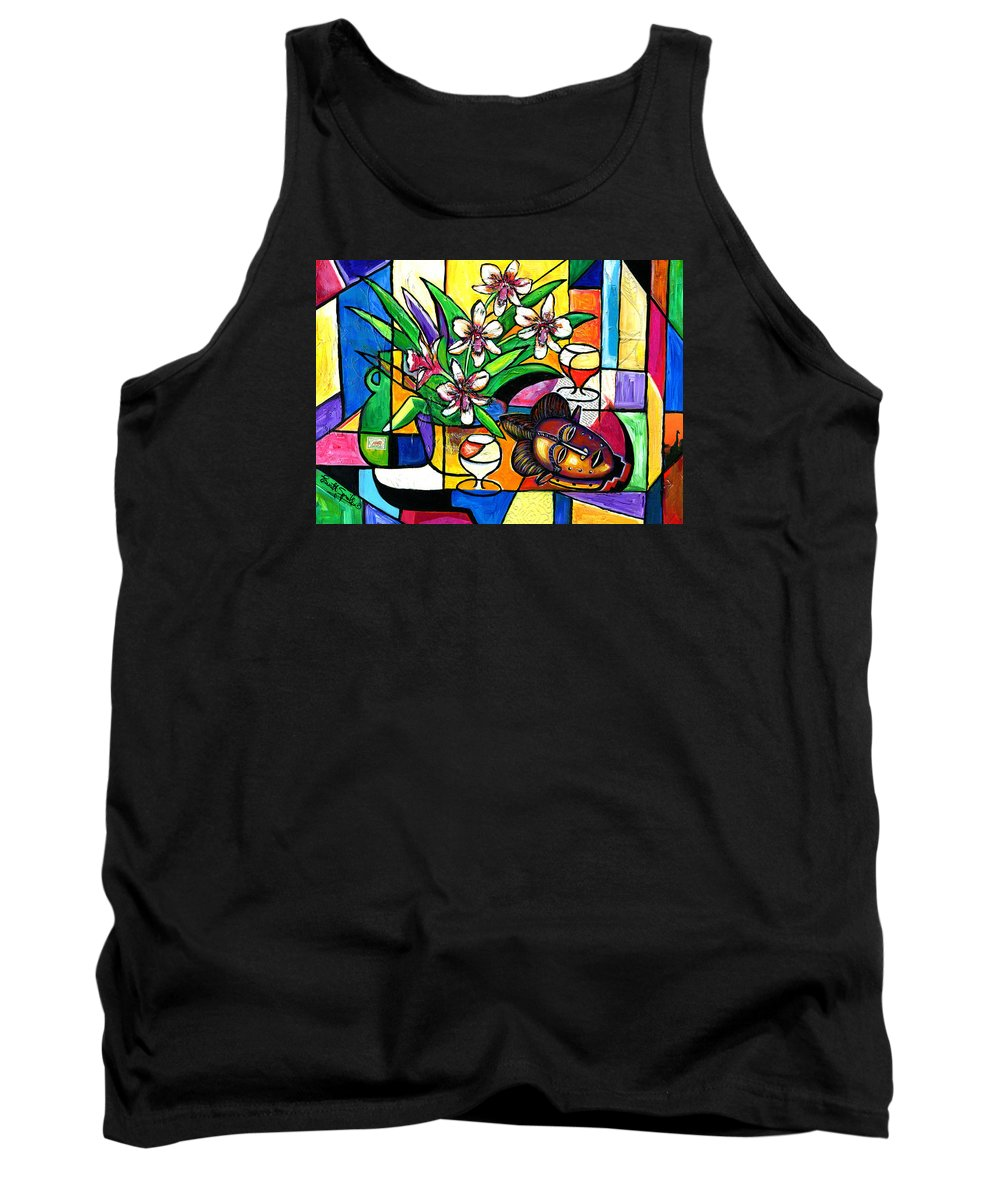 Everett Spruill Tank Top featuring the painting Still LIfe with Orchids and African Mask by Everett Spruill