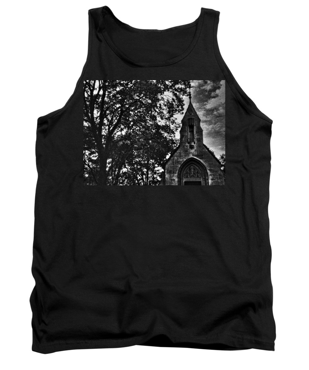 Church Tank Top featuring the digital art Stone Church In Black And White by Cathy Anderson
