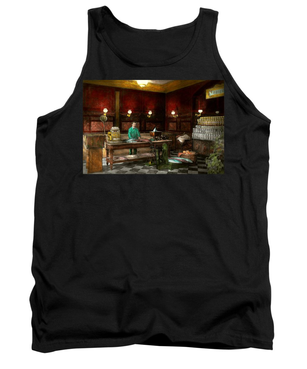 Fish Tank Top featuring the photograph Store - Fish - C Lindenberg Hollieferont Fish Store Berlin Germany 1895 by Mike Savad