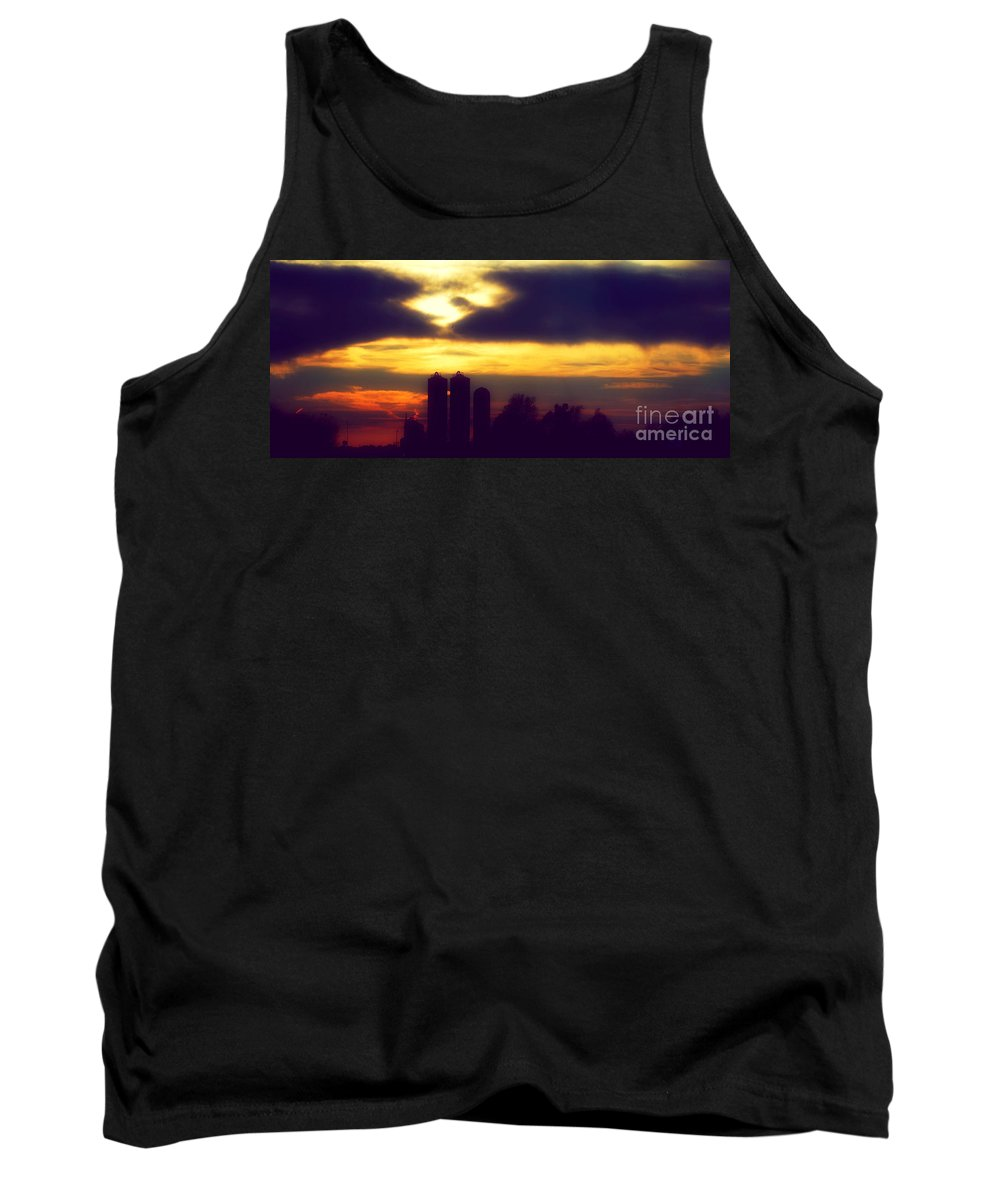 Landscape Tank Top featuring the photograph Stormy Silhouette Sunset by Peggy Franz