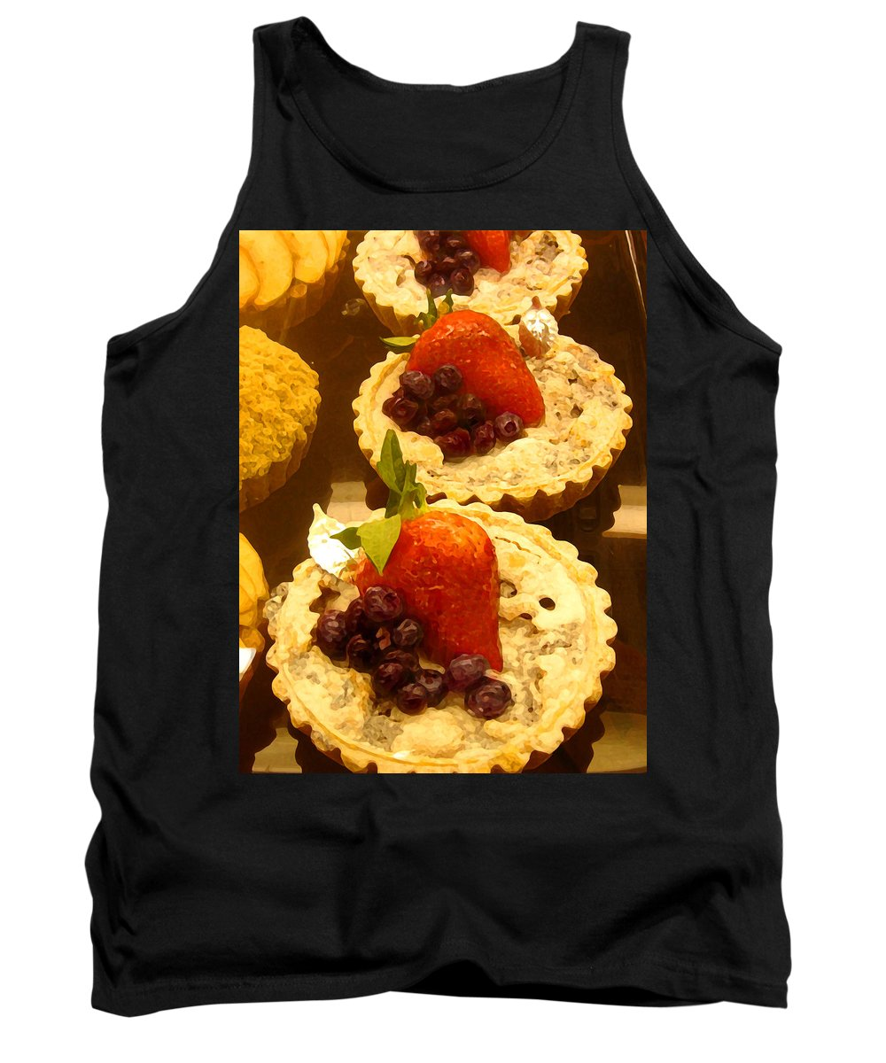 Food Tank Top featuring the painting Strawberry Blueberry Tarts by Amy Vangsgard