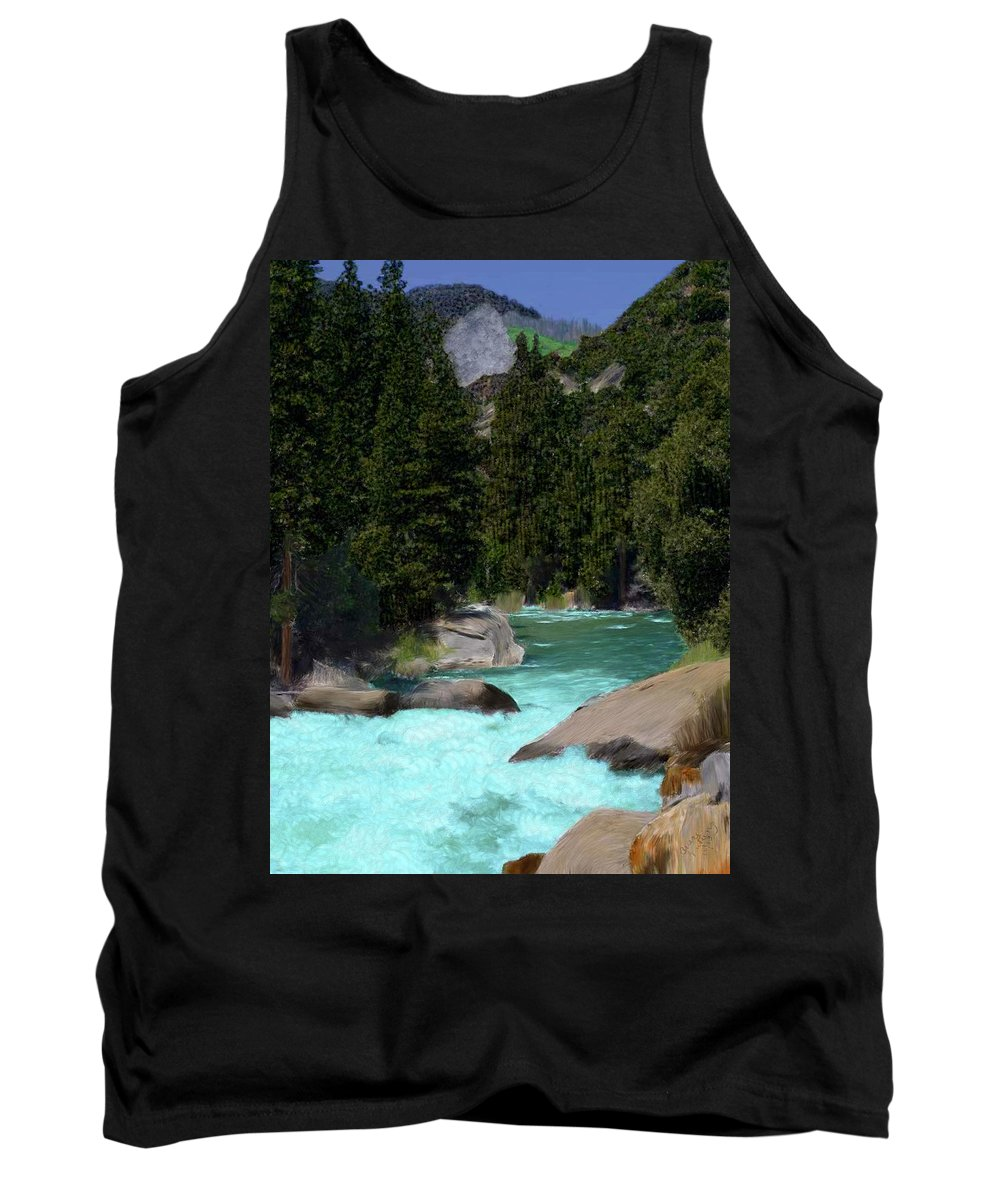 Trees Tank Top featuring the painting Streaming Through The Mountain by Bruce Nutting