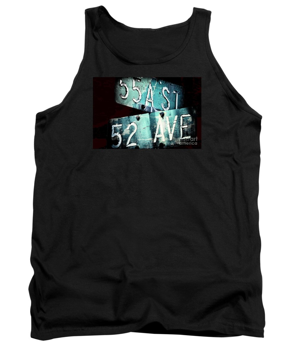 Road Tank Top featuring the digital art Street Sign In The Dark by Lori Frostad