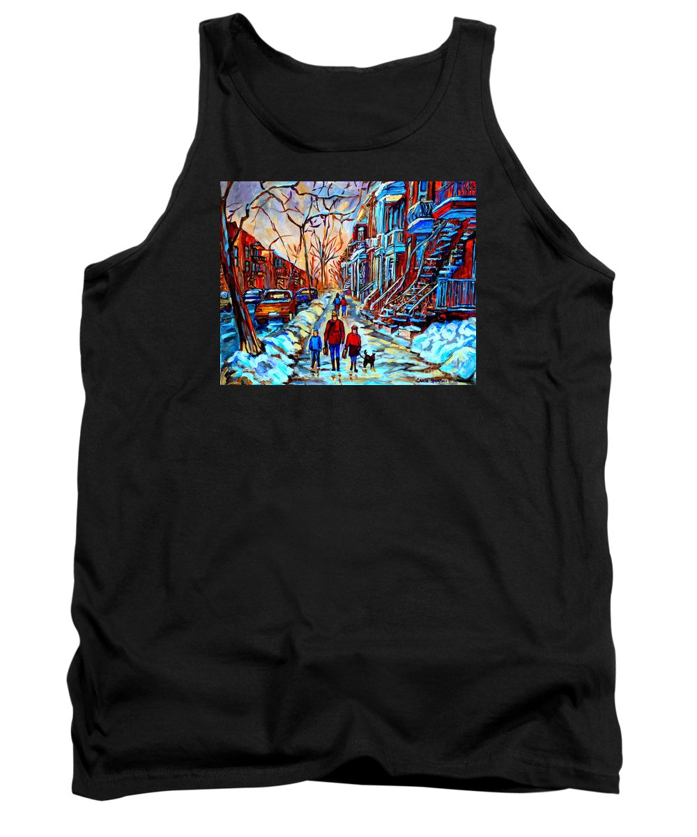 Montreal Tank Top featuring the painting Streets Of Montreal by Carole Spandau