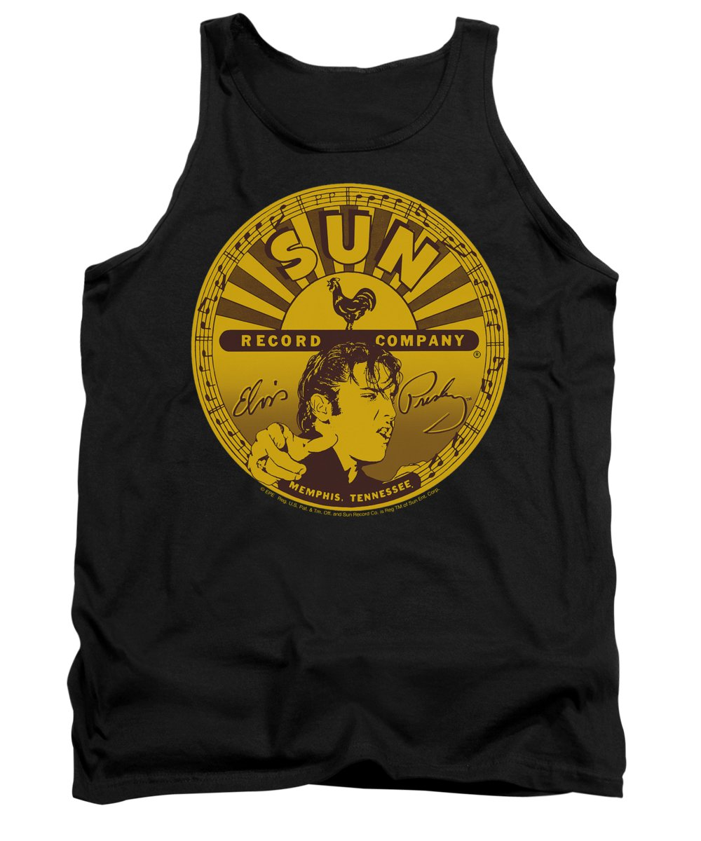 Sun Record Company Tank Top featuring the digital art Sun - Elvis Full Sun Label by Brand A